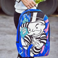 Wholesale Unique Canvas Backpacks - Monopoly Paint backpack Sprayground packsack Unique style picture daypack Street pack bag Canvas rucksack Spray ground day pack