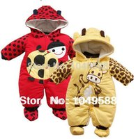 Wholesale Ladybug Jumpsuits - Wholesale-Baby Winter Warm Coveralls Rompers, Cow Ladybug Jumpsuit for Boy Girl, Newborns Bebe Overall Outerwear