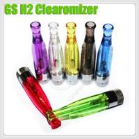 mechas bobina clearomizer al por mayor-Top GS H2 Clearomizer bobinas recargables atomizador GS-H2 No Mecha No Fuga Quemar Olor e cigarrillo electrónico cigarrillo ego vapor de la batería vapor tanque