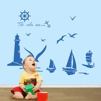 Wholesale Seagulls Wall - Vinyl Wall Stickers Home Decor Sailboat Lighthouse Seagull Wall Art Decals for Kids Room Decoration Stickers
