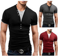 Wholesale Two Button T Shirt - 2015 Summer New M-2XL Men's Clothes Man Short Sleeves Casual T-shirt V-Neck False Two Pieces Slim Fashion Cotton Tees Top