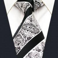 Wholesale Ties White Men Jacquard - Y29 White Black Paisley Classic Silk Jacquard Woven Extra Long Size Men Necktie Tie