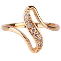 Wholesale Cheap Cz Engagement Rings - Wholesale-2015 Cheap Women Finger Rings 18K Gold Plated Engagement Wedding Rings for Women Cubic Zirconia CZ Vintage Jewelry Bijoux R103
