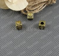 squared bracelete - DIY Antiqued Bronze Vintage Alloy Love Heart Square Spacer Beads Bracelete Handmade Accessories pc