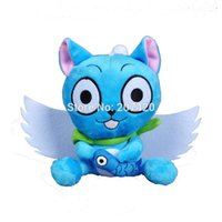 Wholesale Japanese Cat Stuffed Doll - Wholesale- 5.5'' 15cm Japanese Anime Cartoon Fairy Tail Blue Happy Cat With Fish Soft Stuffed Toys Doll