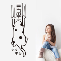 Wholesale Dog Wall Quotes - Cartoon Help Dog Funny Art Mural Decor Poster Decal Cute Lovely Dog Wallpaper Decoration for Living Room Bedroom Help Wall Quote Decal