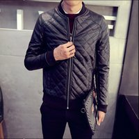 Wholesale Leather Jackets For Men 5xl - Fall-2016 autumn winter men washing PU leather motorcycle jackets for male large size M L XL XXL 3XL 4XL 5XL black brown color coat