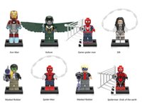 Building Blocks Minifigures Ação Bricks Super Hero Iron Man Vulture Spider Silk Masked Robber Kids Brinquedos de Natal 8pcs / set X0168