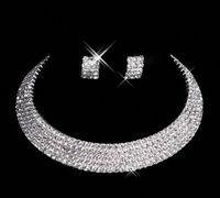 gelin mücevherat yapımı toptan satış-Tasarımcı 2019 Custom Made Elmas Küpe Kolye Parti Balo Örgün Düğün Takı Seti Gelin Aksesuarları Ücretsiz Nakliye Stokta