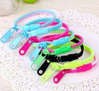 Wholesale Wholesale Zipper Bracelet - Wholesale Candy Zipper Bracelet two tone double color hip hop plastic Zip Wristband bracelets Popular Zipper bracelet Wristband Mix Color
