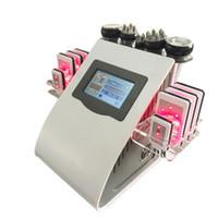 liposuccion de cavitacion laser al por mayor-Más bajo 2 colores 6 en 1 40 k Liposucción ultrasónica Cavitación 8 Almohadillas LLLT lipo Láser Máquina de adelgazamiento Vacío RF Cuidado de la piel Salón Equipo para spa