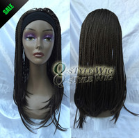 Wholesale Long Brown Braided Wig - New Arrival straight braid with headband wig Synthetic long brown color punk afro braid African style wigs for black woman