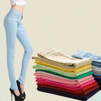 Wholesale Ladies Candy Color Pants - Fashion Women Sexy Candy Color Pencil Pants Casual pants Skinny Pants With Cotton Summer Trousers Fit Lady jeans Plus Size