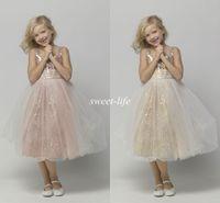 Wholesale Black Tea For Sale - Hot Sale Tea Length Flower Girl Dresses for Wedding Rose Gold Bling Sequins 2015 Cheap A-Line Tulle Children Birthday Girls Pageant Dresses