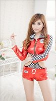 Wholesale Sexy Racing Uniform - Cars racing girl sexy lingerie uniform temptation suit stewardess DS Siamese cheerleaders photography free shipping