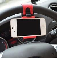 держатель для крепления на велосипеде для iphone оптовых-Автомобиль Streeling рулевое колесо держатель колыбели смарт клип автомобиль / велосипед крепление для iPhone 6 6 plus iphone5 Samsung S5 S4 примечание 2 GPS