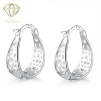 Wholesale Low Priced Hot Plates - Hot Sale Hollow Out Big Round Silver Plated Stud Earrings Jewelry for Women Girls Party Wedding Low Price