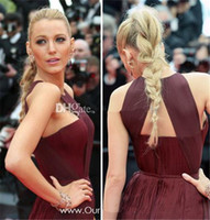 Wholesale New Celebrity Gossip - 2016 Sexy Gossip Girl Blake Lively In Cannes Red Carpet Celebrity Dresses Chiffon High Split Evening Gowns Formal Prom Party Dress Cheap New