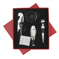 Wholesale red kitchen tools set - Multi Function Corkscrew 4 Pcs In One Set Kitchen Bar Tools Red Wine Bottle Opener Gift Box 7jy C R
