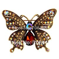 "Wholesale Beautiful Butterfly Brooch - 2"" Vintage Style Antique Gold Plating Rhinestone Crystal Diamante Beautiful Butterfly Brooch Mother's Day Gifts"