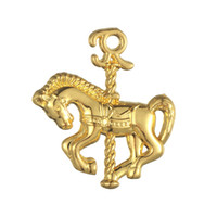 Wholesale Carousel Charms Jewelry - 50pcs a lot Zinc Alloy Antique Silver Floating Carousel Horse Animals Good Luck Pendant Charms For Gift DIY Jewelry