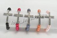 Wholesale Sideways Cross Pearl Bracelet - Wholesale lots 24pcs Simulated Pearls bracelet Sideways Cross Bracelets Beaded bracelet Stretch bracelet fashion jewelry br0087