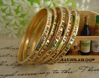 Wholesale Cheap Gold Charms For Bracelets - Cheap Metal Gold Lettering Love Gifts Bangle For Women And Men 6.1 cm Width Fashion Charm Lady Bracelets Make a Wish