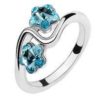 Wholesale Swarovski Crystals Rhinestones Stones - Austrian Crystal Platinum Plated Rings For Women Made With Swarovski Elements Fashion Jewelry Mothers Rings With Birthstones 369