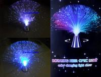 волоконно-оптическая лампа с изменением цвета оптовых-Wholesale-Free shipping Auto rotating color changing fiber optic lamp~fairy party all event night lamp