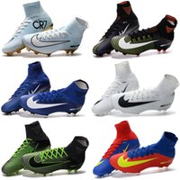 Wholesale Womens Socks Polka Dot - Newairl kids soccer shoes for boys mercurial superfly fg cr7 sock boots football womens mens high tops ronaldo ankle indoor soccer cleats