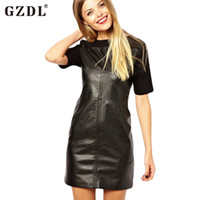 Wholesale Shift Dress Wholesale - Wholesale-Casual Women Ladies Short Sleeve PU Faux Leather Shiny Wetlook Casual Summer Shift Straight Shirt Dress Vestidos Femininos 2003