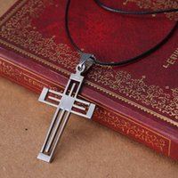 Wholesale Fshion Jewelry - Free Shipping cross Pendant 316L Stainless Steel necklaces pendants Leather Chain charm men jewelry fshion necklaces
