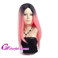 Wholesale Wig Japan - Long Straight Red Pink Wigs Cosplay Ombre Black and Pink Japan Synthetic Fiber Fake Hair Wig 24 Inch Lolita Wig