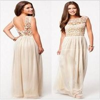 2014 Hot nuovo partito elegante donne casuale / sexy Sleeveless Backless chiffon Lace Hollow maxi donne / donne vestiti Beige