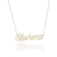 "Wholesale Personalized Charm Pendant - Personalized custom 14K Gold Plating Stainless Steel Name necklace "" Stephanie "" Charm Nameplate Necklace Jewelry gift NL-2430"