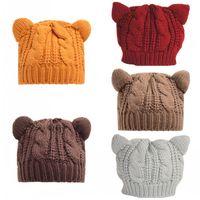 Wholesale devil horn cat ears hat - Soft Hemp Hats Durable For Outdoor Ski Travel Beret Devil Horns Cat Ear Design Women Wool Beanie Creative 8 8bd B