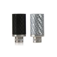 buhar atomizörleri gümüş toptan satış-Karbon fiber 510 Damla İpuçları Siyah Gümüş Geniş Çap Damla İpuçları EGO Atomizer Ağızlık Mekanik Mod RBA için RDA E Çiğ Tankı Vapor ...