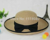 Wholesale Costume Jewellery Wholesalers - Wholesale-Free shipping!!!Fashion Floppy Hat,Jewellery, Straw, with Cloth, brown, 560-580mm, 100-110mm, 100mm, 5PCs Bag, Sold By Bag