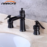 Wholesale Luxury Wall Spouts - Luxury Black Bronze Brass Waterfall spout Roman Tub Sink Faucet Single Handle Deck Mounted 3pc XR7039