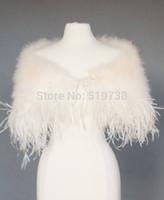 şallar omuz silkür toptan satış-Devekuşu Tüy Düğün Ceketler Gelin Shrug Şal Wrap Marabou Tüy Cape Devekuşu Boa Trim Balo Düğün Aksesuarları ile