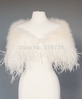 Wholesale Ivory Wedding Cape Shawl - Ostrich Feather Wedding Jackets Bridal Shrug Shawl Wrap Marabou Feather Cape with Ostrich Boa Trim Prom Wedding Accessories