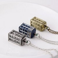 Wholesale police box necklace - 2015 popular Doctor Who Tardis Necklace Police Box Necklace Retro jewelry vintage blue brozen silver choose Style