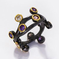 LUXURY design creativo unico di alta qualità 18K oro nero placcato oro zirconi cubico colorato anello per le donne
