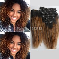 Wholesale Extension Clip Ombre - Clip In Ombre Human Hair Extensions African American Clip In Human Real Hair Extensions Beauty Product Curly Clip ins