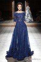 Wholesale Classic Tulle Sleeve Dresses - Elie Saab Dresses Party Evening Gowns Sleeves Scoop Appliques Prom Dresses 2105 Nave Blue Celebrity Formal Dresses Evening Wear