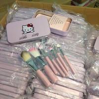 инструменты кисть hello kitty оптовых-Горячие продажи Hello Kitty 7 шт. / компл. мини макияж кисти наборы косметика наборы женщины составляют инструменты для теней для век кисти 50 компл. / Лот