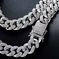 Wholesale Men Curb Silver Bracelet - Top Quality Hip hop Women Men Copper Curb Cuban Chain Necklace Bling Iced Out Link Gold Silver Necklace Micro Full CZ Clasp DropShipping