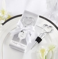 Wholesale Love Bottle Stoppers - Wholesale- New 100 pcs Bottle opener Stopper,Love heart shape wine stopper, wedding favors and gifts, party favours free shipping