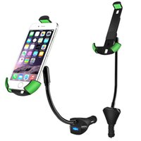 Wholesale Car Lighter Phone Mount - 360 Degree Rotation Car Phone Holder with 3 USB Charger Cigarette Lighter Vehicle Mount for IPhone Samsung Xiaomi Universal Smartphone