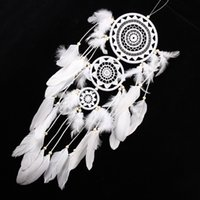 Carillon di pizzo bianco Dreamcatcher Campanelli eolici Stile indiano Pendente di piume Dream Catcher Creative Car Hanging Decoration